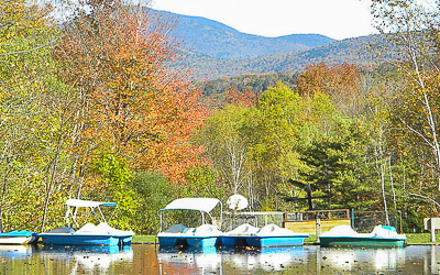 Docked boats at Lost River Campground